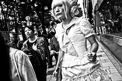 Happy Hopping Around (Victor Borst) Tags: street streetphotography streetlife reallife real realpeople asia asian asians faces face candid travel travelling trip traveling mono monotone monochrome mankind japan japanese bw blackandwhite beautiful hopping crossdreser crossdressing crossdresser poverty tokyo harajuka special moment city cityscape citylife