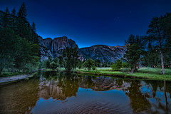 Yosemite night fall 1 (logical_j) Tags: california yosemite nightphotography longexposure waterfall water reflection lake mountain night
