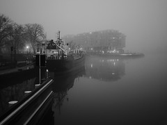 (docwiththecamera) Tags: river mist monochrome boat building light