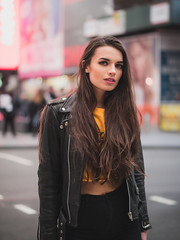 Times Square fashion (Vincent F Tsai) Tags: fashion portrait art street newyorkcity nyc timessquare style female model girl pretty beauty brunette standing urban fall winter leicadgnocticron425mmf12 nocticron panasonic lumixgx8 bokeh dof
