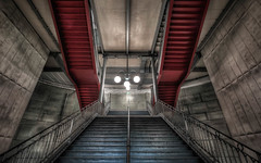 Stairs to Cite (Jacob Surland) Tags: architecture art building capital caughtinpixels city citylife cityscape contemporary fineart fineartphotography geometry hdr jacobsurland lines lowangleview modern paris perspective stairs steampunk train trainstation transport transportion travel traveldestination travelandtourism urban