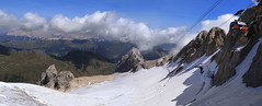 Panoramic Glacier terrace at highest top Marmolada of the Dolomites (B℮n) Tags: puntarocca marmolada trente italië italia ufficio ski pass malgaciapela mountains snow national park dolomites 3342m dolomieten tirol unesco serauta banc ciapela bellunese gletsjer glacier lift top fedaiapas movetothetop climbing rock ice climb italy highest peak vista summer italian hikes walks thequeen breathing fresh mountain air trentino aerial tramway kabelbaan panorama gletscher coldilana 50faves topf50
