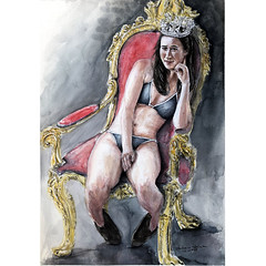 """Queen in slippers"". (Andreas Heinen) Tags: composition photorealistic realism figurative girl woman crown gold throne beautiful design slippers bikini queen aquarell art painting watercolor"