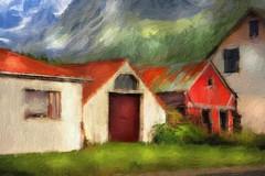 From Iceland. (Tóta. 27.12.1964.) Tags: houses mountain grass eyrabakki iceland ísland