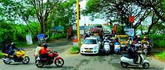 Early morning rush hour: Kerala, India (+1) (peggyhr) Tags: peggyhr traffic colourful trucks bikes kerala india