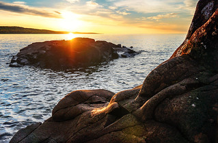 Sunrise Over Rock 2 - Grand Marais MN