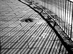 Railings and a Puddle (cycle.nut66) Tags: railings road pavement paving slabs light shadow line lines water puddle metal kerb curve grainy film art filter olympus epl1 evolt micro four thirds mzuiko
