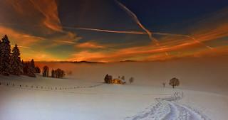 Winter's sunset. La Tourne, Canton of Neuchatel, Switzerland. 12 12 12 Panorama no. 1.