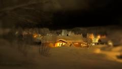 Nice and cozy inside. Fabulous walk outside. (evakongshavn) Tags: winter house yellow garden snow new light nightshot nightscape night dark neige hiver hivernal landscape landschaft paysage sundaylights snowglobe tiltshift