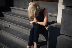 Summertime Sadness - [Seen In Explore!] (McLovin 2.0) Tags: girl blonde summer city urban steps concrete alone style candid melbourne street streetphotography sony a7s 55mm zeiss australia explore explored summertime sadness