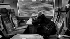 A Quick Nap on the Train. (ManOfYorkshire) Tags: nap quick sleep power train railway carriage seating table southern sussex bw blackwhite girl mobile phone