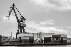 SHIP - Aarhus Ø (Poul_Werner) Tags: aarhus danmark denmark 53mm bw blackwhitephotos crane dock harbour havn kran monochrome port udsigt view centraldenmarkregion dk blackandwhite