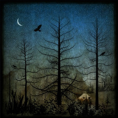 Whimsy Landscape (Explored 2-12-18 #216) (David DeCamp) Tags: tree texture moon barn