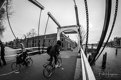 Bicycles and bridge @ Amsterdam (PaulHoo) Tags: fisheye samyang 8mm nikon d300s amsterdam city urban architecture building people candid streetphotography 2018 cycling bicycles blackandwhite monochrome bridge water hermitage