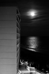 Moon Rise (1eyephotography) Tags: blackandwhite beach bw moon buildings architecture lines myrtle southcarolina sc hotels photo photography