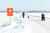 Distance sign in skating track in Kuopio (VisitLakeland) Tags: skating ice winter cross country snow lake kallavesi finland sport lifestyle active outdoor luistelu retkiluistelu matkaluistelu jää talvi lumi kuopio