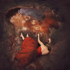 ripples (brookeshaden) Tags: brookeshaden fineartphotography fineart conceptualart conceptualphotography selfportrait reddress ripples water puddle universe surrealism