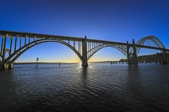 Newport Bridge Facing West (Barb Henry) Tags: bridge oregon newport iconic engineered structure iron steel ocean pacific sunset waves bar beautiful