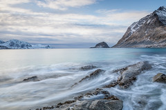 Haukland Beach (Mika Laitinen) Tags: canon5dmarkiv europe hauklandbeach lofoten norway norwegiansea scandinavia beach blue cliff cloud landscape longexposure mountain nature ocean outdoors rock sea seascape shore water wave winter nordland no