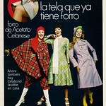1970 Fashion Ad, Celabond Celanese Acetate Fashion Fabric, Three Pretty Models thumbnail