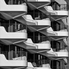 Modern Living (laga2001) Tags: balcony building repetition repeating white black contrast shadow curve round curved modern contemporary architecture monochrome blackandwhite bnw bw