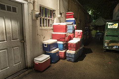 Ice Chests (Curtis Gregory Perry) Tags: milwaukie oregon ice chest cooler night alley dumpster long exposure nikon d810 garbage red blue green