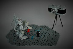 Behind the scenes... (adde51) Tags: adde51 lego moc classicspace neoclassicspace exosuit camera behindthescenes setup photography crate cargo ground technique