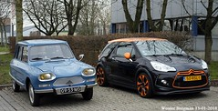 Ami 8 + DS3 (XBXG) Tags: 0953ms 50rsl1 citroën ami 8 club 1970 citroënami8 citroënami ami8 ds3 racing blue bleu black noir gjo nieuwjaarsreceptie 2018 garage johan oldenhage tarwestraat nieuw vennep nieuwvennep nederland holland netherlands paysbas vintage old classic french car auto automobile voiture ancienne française vehicle outdoor
