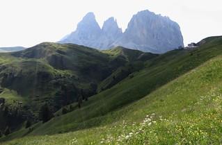 Passo di Sella (2240m), Canazei, Val di Fassa, province de Trente, Trentin-Haut Adige, Italie.