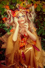 "TEATRONATURA ""In the golden autumn"" (valeriafoglia) Tags: autumn atmosphere golden gold elf creature wood forest nature colors fantasy fairy face art beautiful beauty makeup stylist outfit creative composition capture photo photography portrait"