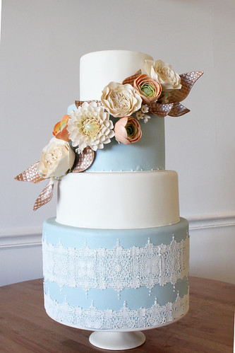 Flowers with Copper Leaves and Lace Wedding Cake