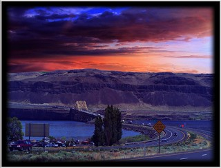 Vantage Bridge ~ Columbia River in Washington State ~ Sunset