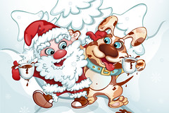 Santa Claus and the dog embraced and walked along the snowy road. Friends drink a hot drink. Vector illustration with funny characters in cartoon style. Winter postcard. (ОльгаРуденко) Tags: santa christmas dog claus cartoon new xmas illustration year holiday white gift card winter puppy merry happy background clause red isolated art cute present design fun celebration joy greeting children blue smile image person snow tea hot drink cup coffee chocolate tree walk friend go snowflake friends friendship