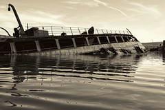 Paddle Faster, I Think I See Something In The Water (95wombat) Tags: old abandoned rotted decayed derelict rusty decrepit marinegraveyard arthurkill statenisland newyork bw monochrome platinumtoned