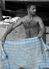 varanasi 2017 (gerben more) Tags: man varanasi benares india moustache stubbles towel blue handsomeman hairychest shirtless