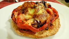 Air fryer cooking (Sandy Austin) Tags: panasoniclumixdmcfz70 sandyaustin massey westauckland auckland northisland newzealand cheesemelt capsicum tomato salami