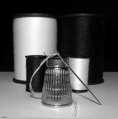 A Stitch In Time (Lisa Zins) Tags: monochrome february5 2018 blackandwhite lisazins macromondays macro monday canon sx150 needle thread thimble black grey white