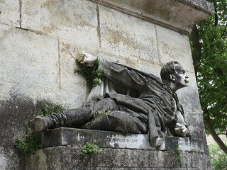 Recumbent statue, Franco-Prussian War memorial, Place Lafayette, Cahors, France