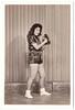 Vintage 1958 Studio Portrait : Latina Baseball Pose (CHAIN12) Tags: tijuana 48 photos photo lot batch scanned mexico mexican origin snapshot unidentified irnclsttijmexlot1958chicabaseballpose shorts girl gal chica baseball glove bbw profile teen