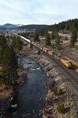 UP MRVNPP 13 (caltrain927) Tags: union pacific railroad loaded mixed freight manifest ge es44ac ac gevo c45accte ac45ccte c45ah c44ac ac4400cw sp truckee river california ca