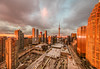 20180115.11.24-10 (HisPhotographs.com) Tags: sunrise toronto city cityscape glow orange colorful cntower unionstation fromabove skyscrapers buildings acc aircanadacenter ontario construction traffic busy royalyork hotel condos gardinerexpressway gfl greenforlife