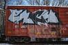 Each, ? (NJphotograffer) Tags: graffiti graff trackside railroad rail art freight train bench benching box car boxcar each