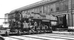 Nickel Plate # 757 4-0-4 on transfer table Conneaut, Ohio Shops September 1951 out of my collection. Photographer not noted. (mp 126) Tags: nkp conneaut berkshire