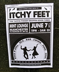 Itchy Feet, Manchester, UK (Robby Virus) Tags: manchester england uk unitedkingdom britain greatbritain itchy feet dance party mint lounge rock roll ska rb swing flyer paste pasted wheatpaste poster club dancing