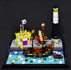 The Dock (Legotales) Tags: lego microscale moc architecture lighthouse station ship afol