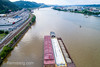 Gravel barges traveling down the Ohio River in Pittsburg, PA (Remsberg Photos) Tags: gravel drone highangle barges pittsburg gravelbarge aerial boat container shipping pa pennsylvania industry aerialshot ohioriver freight river freighttransportation grovecity usa