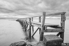 pier at Culross (Hal Halli....happy everything!!) Tags: sea blackandwhite marine scotland culross wallart homedecor ocean seascape pier dock uk britain postcard sky legacy