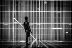 Caught in the matrix (Robert Bauernhansl) Tags: matrix arselectronicacenter deepspace8k art technology tech standing schauen looking person blackandwhite blackwhite bw black white weis schwarzweis schwarz lines linien kunst technologie linz austria upperaustria oberösterreich
