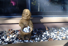 DSC00364 (classroomcamera) Tags: home garden landscaping gnome happy pebble pebbles rock rocks shadow window plant planter light sunlight sunshine white black decoration