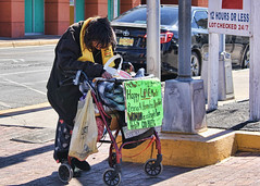 042/365 Says It All (Helen Orozco) Tags: albuquerquestreets homeless centralavenue streetlife struggle 2018365 disabled hearts heartbreaking life 42365